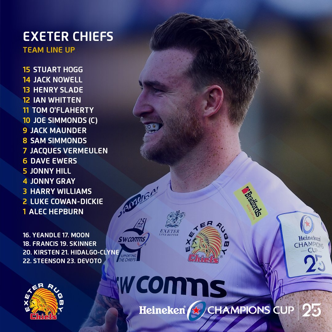 🚨 TEAM NEWS 🚨  Here's how @ExeterChiefsand @racing92line up for tomorrow's mouth-watering #HeinekenChampionsCup Final at Ashton Gate 🙌  Who are you backing to steal the show on the biggest stage? 🌟 https://t.co/dUi9YC5Z8f