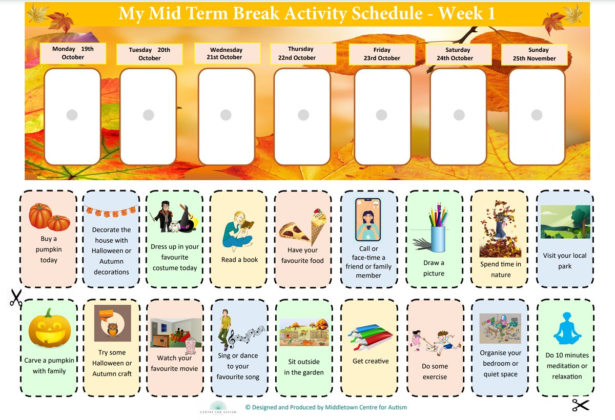 🎃Midterm Activities🎃  The mid-term holiday brings changes in routine and more unstructured time. Two templates have been created so that you can choose the option that best suits the child or young person👇 https://t.co/0QVRzf8hKA  https://t.co/UzqSIkQ2YK #UnderstandingAutism https://t.co/6Fh4kciDGb