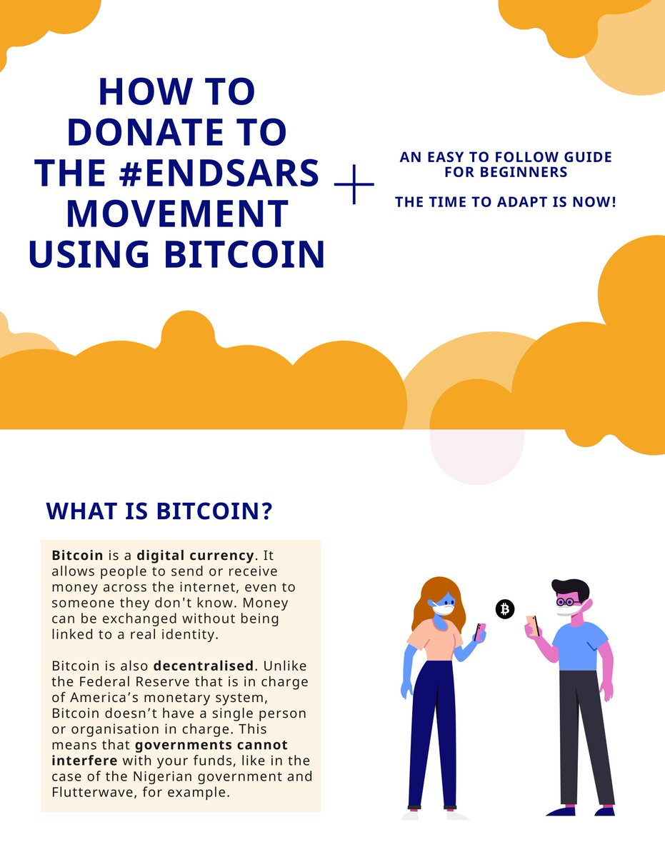 I made an easy-to-follow infographic on how to donate to the #EndSARS movement using Bitcoin in light of the Central Bank of Nigeria blocking donations within Nigeria. Please RT and Share for awareness ❤️🇳🇬 #EndSARS #EndSWAT #Bitcoin
