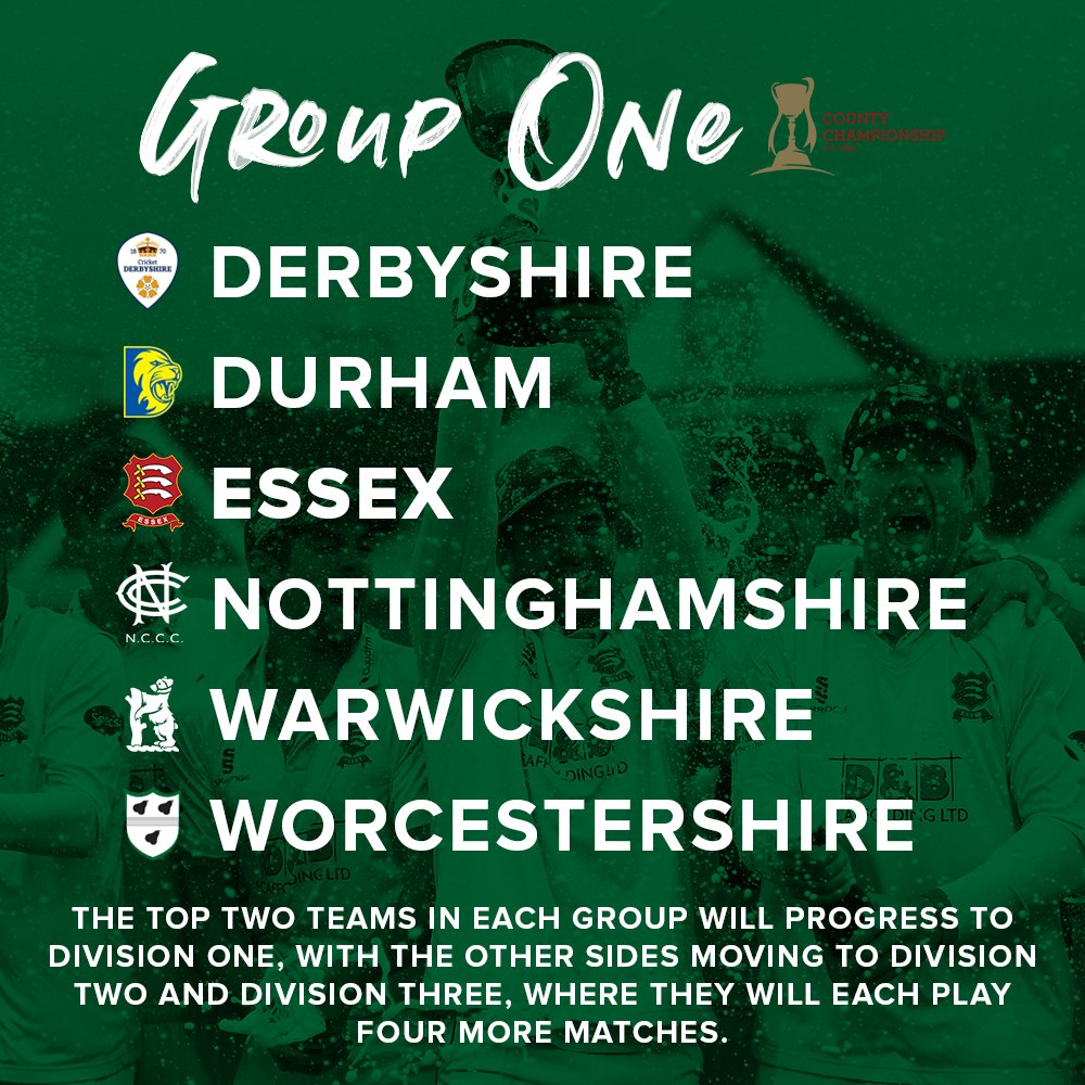 Weve been drawn in Group One of the 2021 @CountyChamp, with the top two teams progressing to Division One...