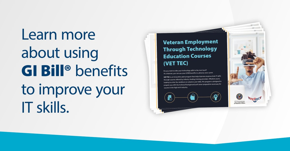 VET TEC helps Veterans improve their IT skills through industry-leading training providers who offer IT courses. 💻Learn more with VET TEC Student Postcard and stay tuned for an exciting update this month ➡https://t.co/lKIVIsGFEH https://t.co/iDZeyfUksK