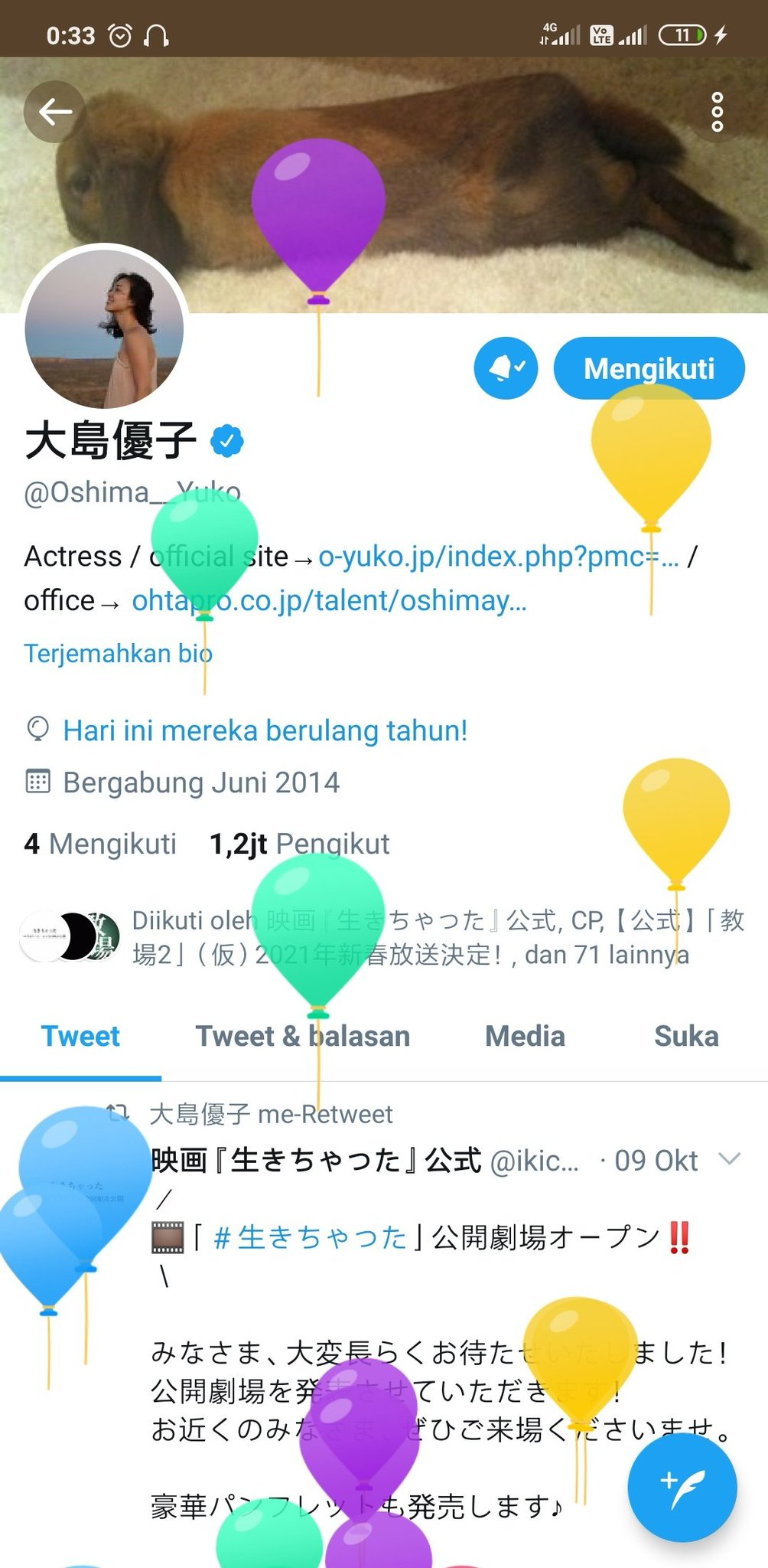 your message profiles have balloons, are you still afraid of balloons? Hihi  Happy birthday luv