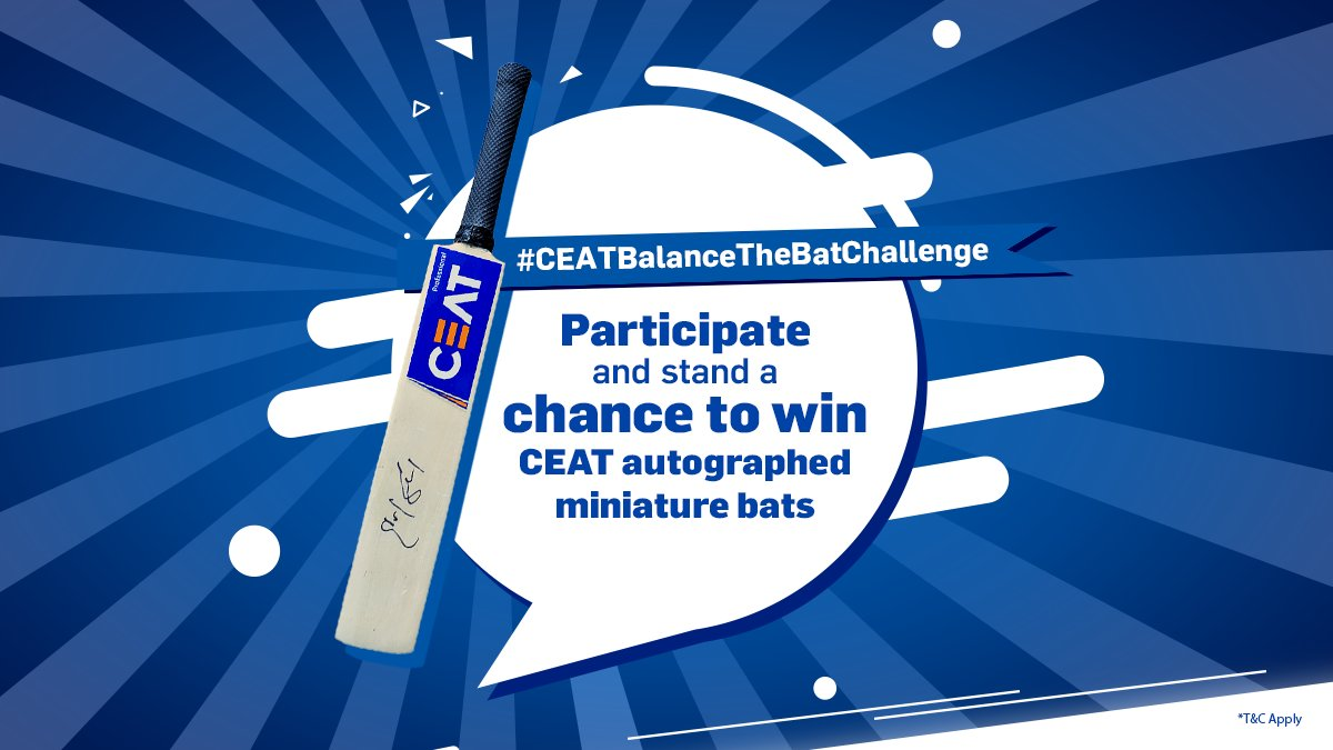 Take the #CEATBalanceTheBatChallenge today and stand a chance to win CEAT autographed miniature bats! #Dream11IPL #CEATTyreStrategicTimeout T&Cs: