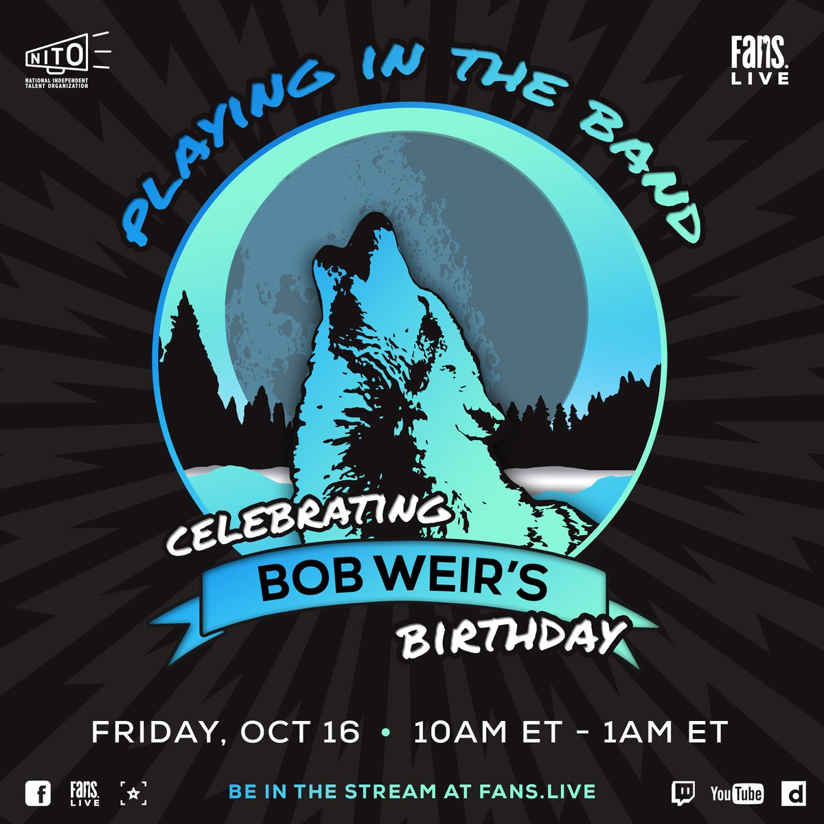 Today, on my birthday, @FansBelongHere is hosting a stream of archival shows, memories, musical selections and more. Tune in starting at 10am ET and support the @NITO_Live while you watch here: fans.live.