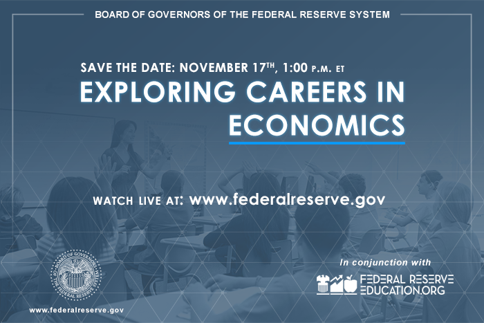 Interested in a career in #economics? Join @federalreserve staff on November 17 at 1 PM to discuss their experiences and the career paths and opportunities available.  Learn more: https://t.co/exsCf6tFN7 #FedEconJobs #EconTwitter https://t.co/pri0rub0fG