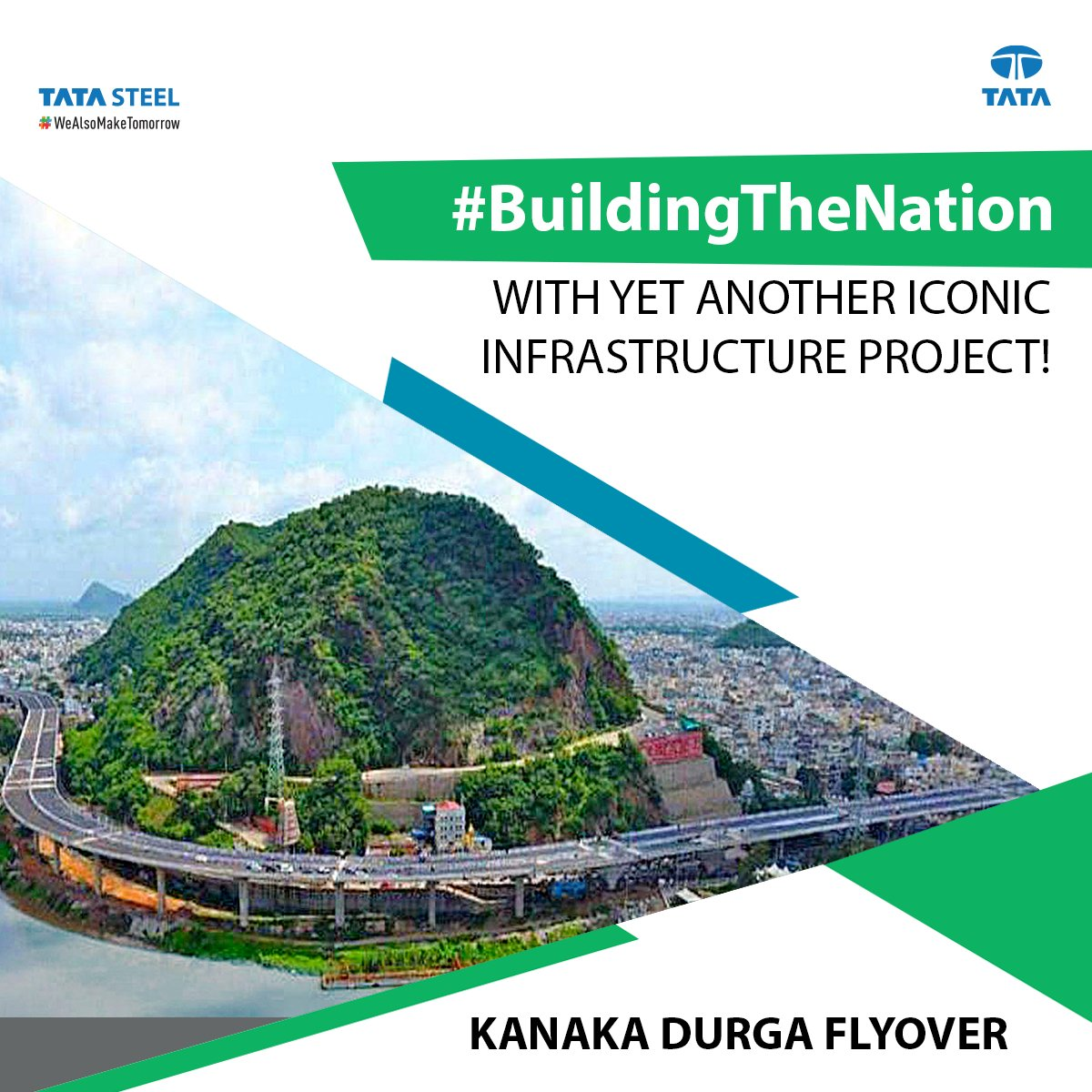 Our commitment to #BuildingTheNation sees yet another landmark project completed. We supplied ~80% of the steel, which included 2,000 mt of LRPC strands & 10,000 mt TMT bars, for the Kanaka Durga flyover in Andhra Pradesh. https://t.co/xKmFZHk2YO #TataSteel #WeAlsoMakeTomorrow https://t.co/Yn7xAX5Urr