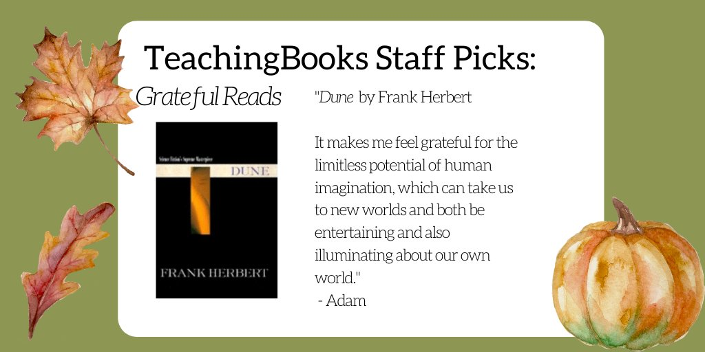 test Twitter Media - In this time of harvest and celebration,  we asked TeachingBooks staff to share a book that reminds them to feel thankful or makes them feel grateful.  Select the link to learn more about the title. https://t.co/Q5LABBl3LH  Ace Books (Berkley Publishing Group) https://t.co/Kkll1ynKn9
