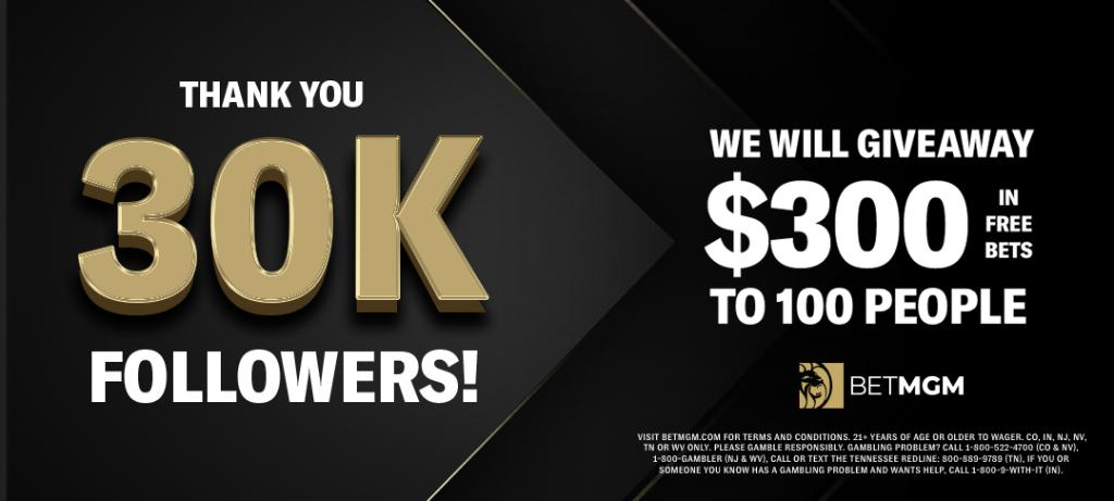 Cannot thank you enough.   We want to thank all 30,000 of our loyal Twitter followers with a $30,000 giveaway! 💰   100 random winners will receive $300 paid in free bets 🚨  Simply: 1️⃣ Follow @BetMGM 2️⃣ Retweet this tweet  T&Cs: