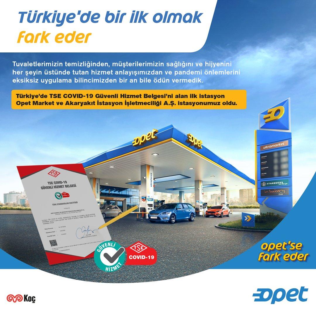 Türkiye'de TSE Covid-19 Güvenli Hizmet Belgesi verilen ilk akaryakıt istasyonu Opet Antalya Acente Akaryakıt İstasyonu oldu. İstasyonumuzu tebrik ediyor, kendileriyle gurur duyuyoruz. Her zaman söylüyoruz #OpetseFarkEder https://t.co/Ca2tTonQ0e