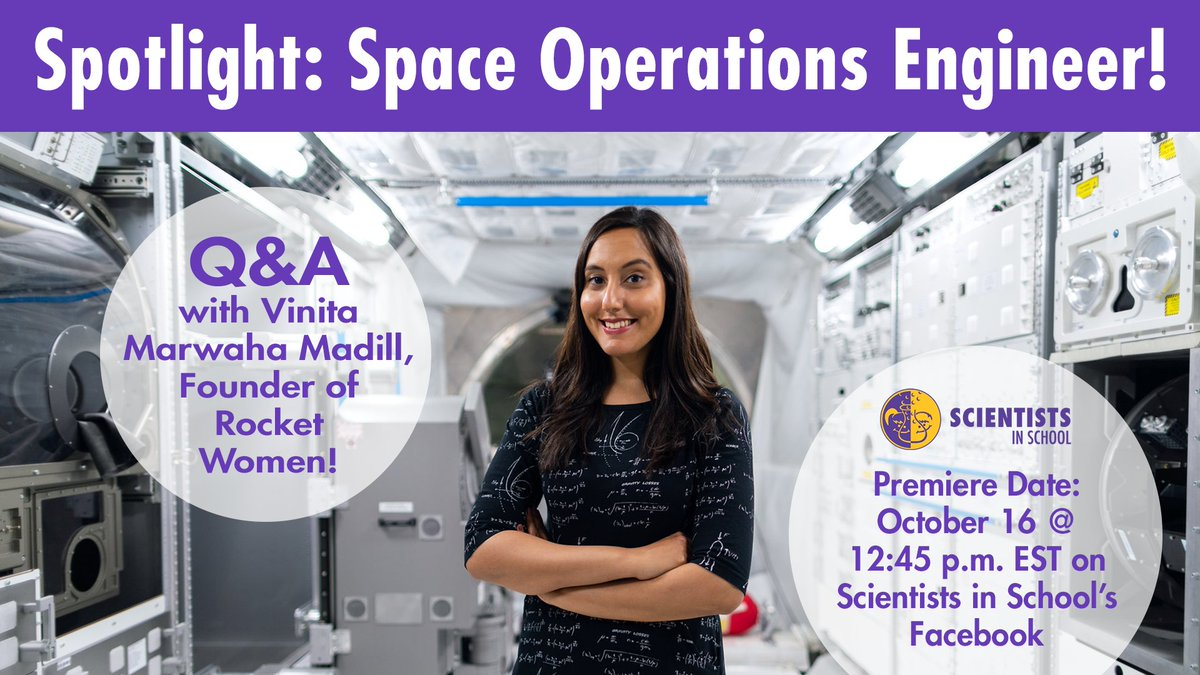 Tune in to our Facebook page at 12:45 p.m. EST to watch our Spotlight interview with @Rocket_Woman1, Founder of @RocketWomen_! 🚀  Link: https://t.co/Skr8rzyf6Q  We chat all about the importance of representation in space and engineering, inspiring STEM role models and much more! https://t.co/bQBBLa9fwt