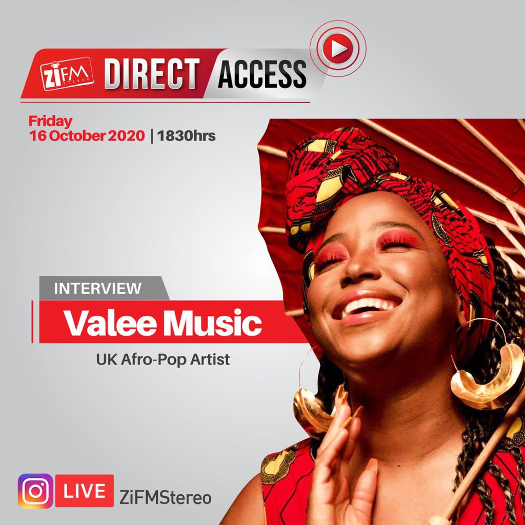 Tonight on #ZiFMDirectAccess @Ladykuda speaks to UK Afro Pop artist @ValeeMusic live on our Instagram page at 1830hrs. Do tune in 🔥🔥🔥 https://t.co/Mr9AA2q4JE