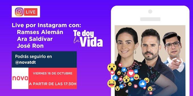 ¡Estamos en directo! 😊 ¡Sigue en nuestra cuenta de Instagram todo lo que @ramses_aleman, @AraSaldivar y @JoseRon3 nos van a contar sobre el estreno este lunes de #TeDoyLaVida! 💖✨atres.red/kriwc