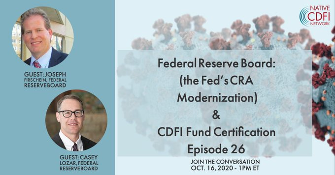 What's happening with #CRA modernization at the Fed? Learn more at 12 pm Central TODAY on a @nativecdfis webinar, feat. @FedIndianCenter Director @CaseyWLozar & Joseph Firschein of @FederalReserve. Register:  https://t.co/S6hozW5mLw #CommunityReinvestmentAct #CDFIs https://t.co/K96NbamtuO
