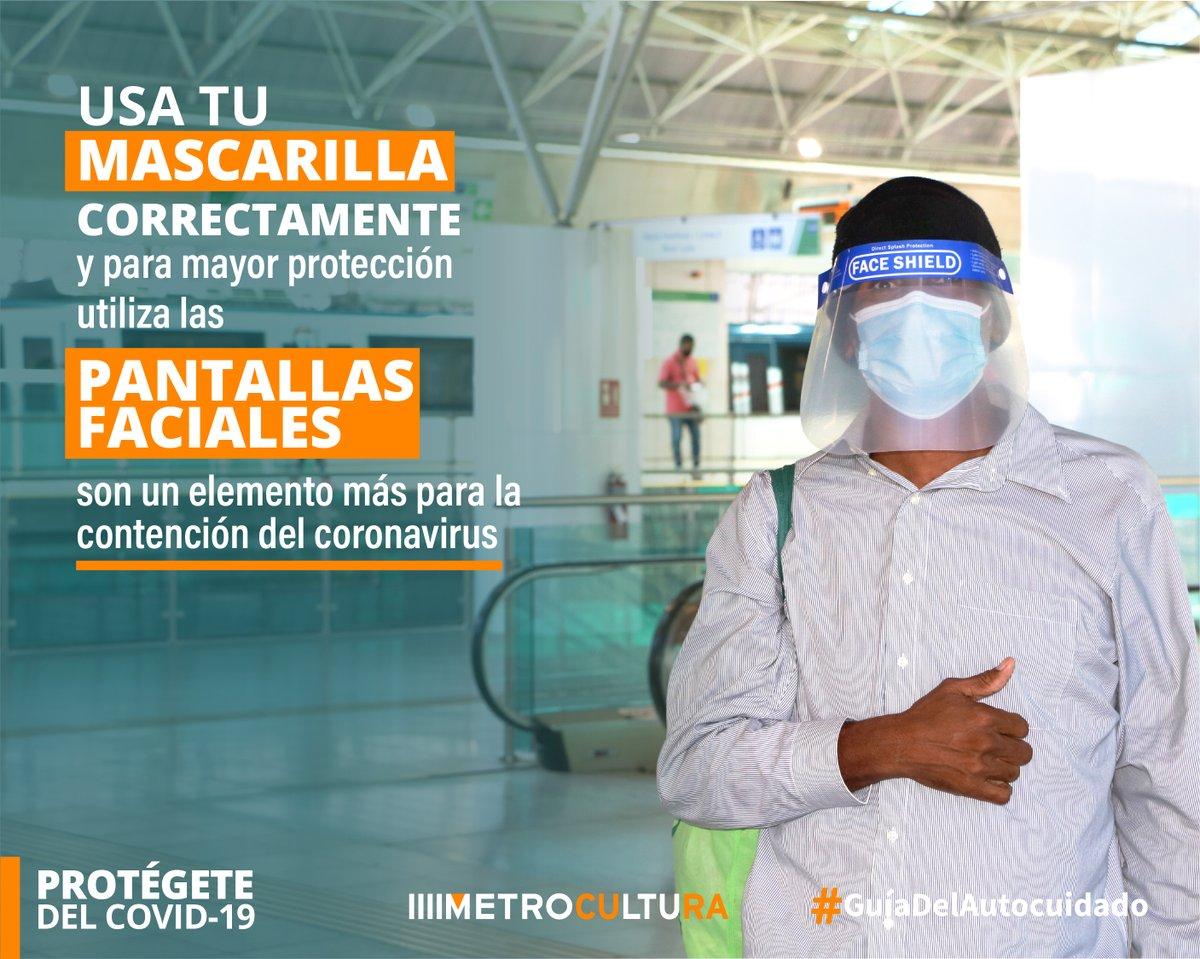 Recuerda: el uso de mascarilla es obligatorio y para reforzar tu protección utiliza las pantallas faciales durante tu viaje en el Metro, estas cubren un área mucho más amplia del rostro. Protégete del #COVID__19   Sigue la #GuíadelAutocuidado🇵🇦 #Metrocultura https://t.co/aUYk5gLw3Z
