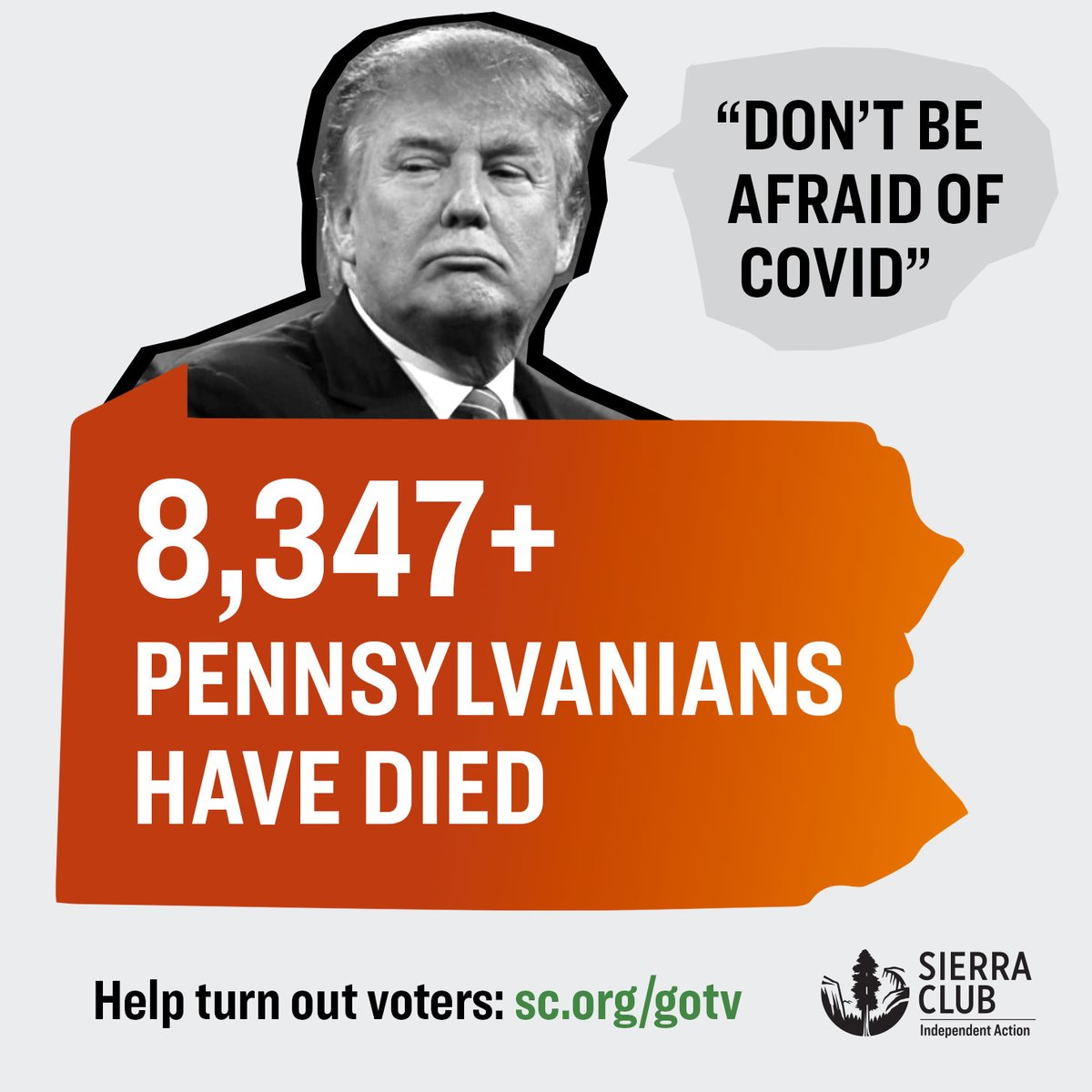 We can't afford four more years of a president who lies and refuses to act on a deadly virus that's killed more than 8,347 Pennsylvanians.  Help turn out voters this election.   #PeoplePlanetPower #vote2020 #pennsylvania