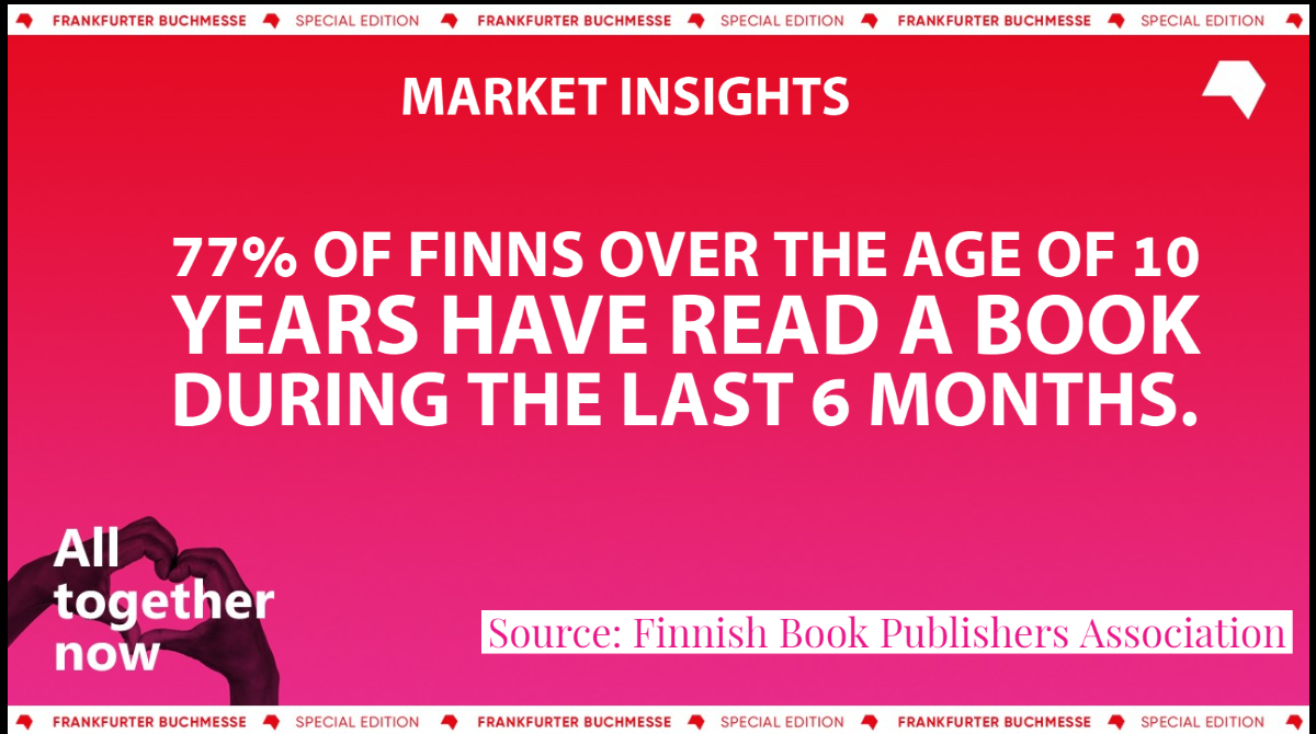 Finns are big readers, according to the Finnish Book Publishers Association. Discover more market data in The Market Insights Series, an initiative created to expand knowledge of book markets. Visit: buchmesse.de/en/highlights/… #marketinsights #fbm20
