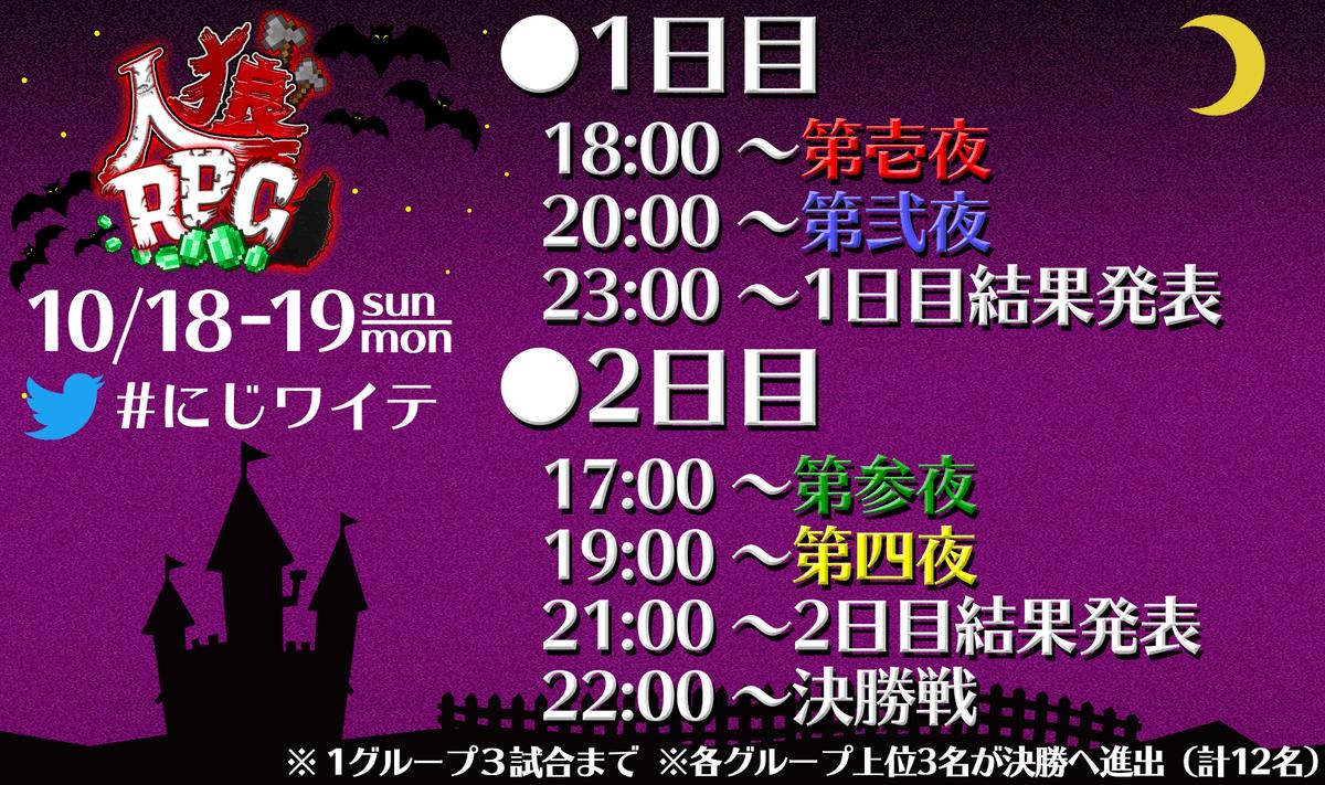 【やっと情報公開!】10月18日19日と2日間かけて行われる「ハロウィンにじワイテ人狼RPG」。そのタイムスケジュールと参加メンバーがこちら!!!今回は、決勝戦もありますので2日間とも楽しみましょう!!#にじワイテ
