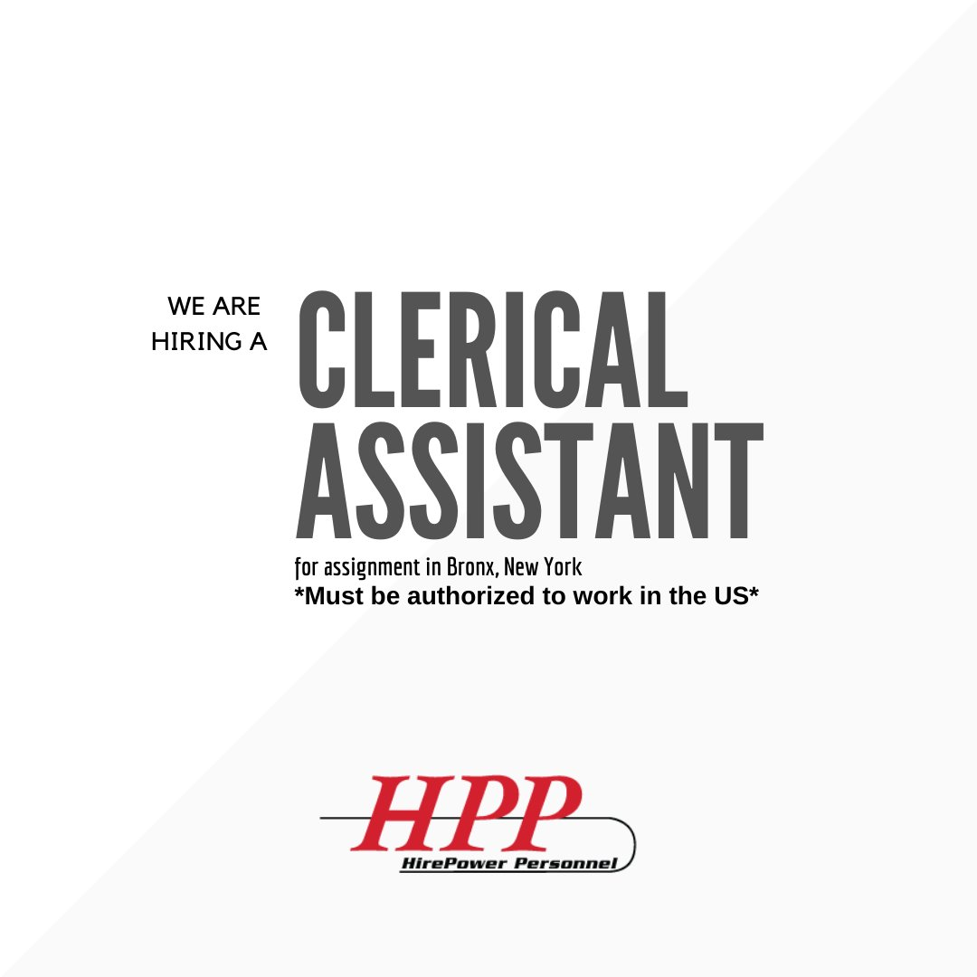 #Wearehiring a #ClericalAssistant for an assignment in #TheBronx, #NewYork, to apply and for more information please visit the following link: https://t.co/nHIEWKGcNU #Clerical #assistants #newyorkjobs #jobsearch #hiring #employment #jobopenings https://t.co/V85ifn7001