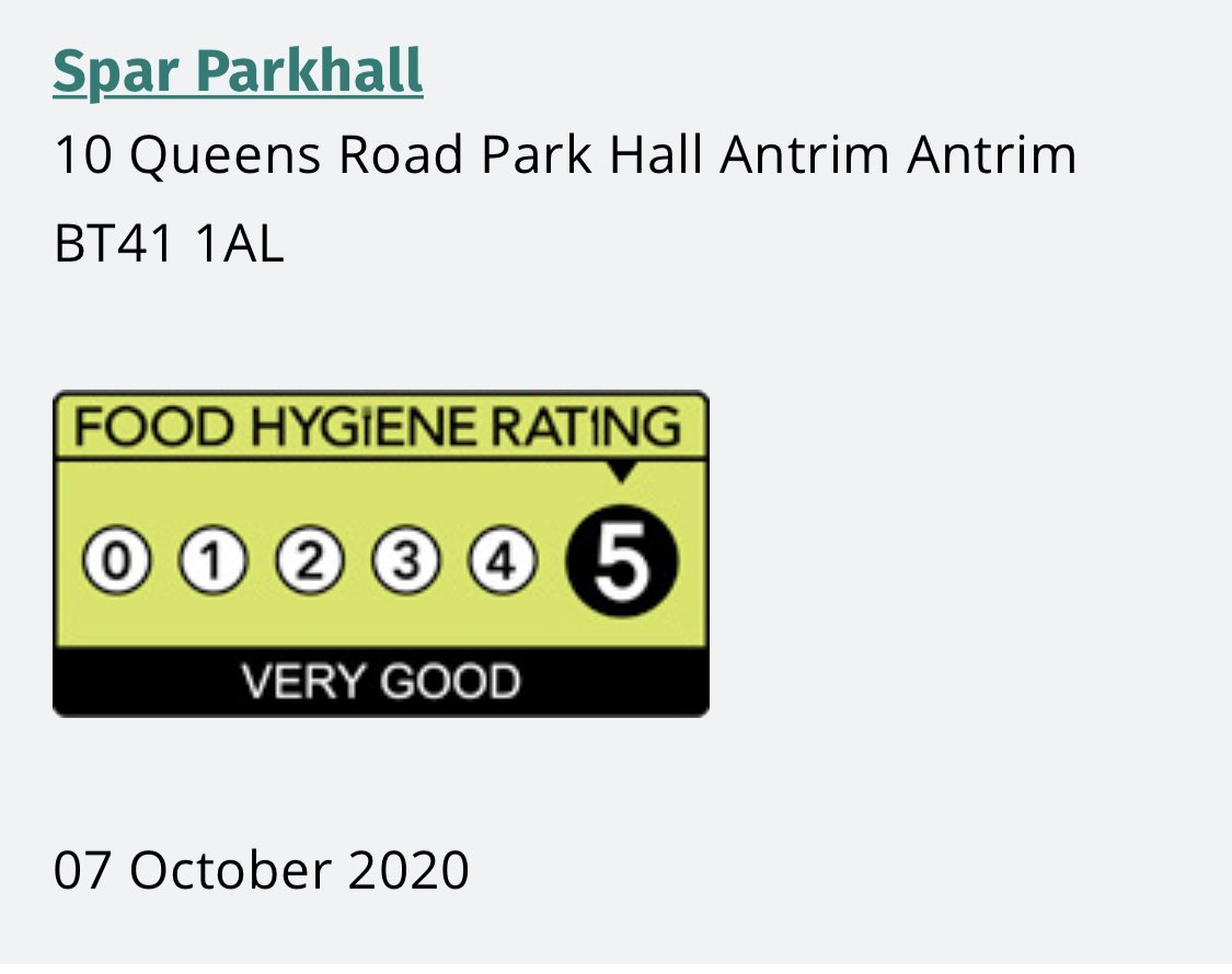 Delighted to receive 5 Star rating for our Food to Go Business in Parkhall in Antrim ⁦@SPARNI⁩ ⁦@jim_mouup⁩ ⁦@ANBorough⁩ ⁦@PamCameronMLA⁩ During these difficult times it's great to celebrate some good news 😀😀 Thanks to all our Staff 👏👏👏👏 https://t.co/VlMioRcHoy