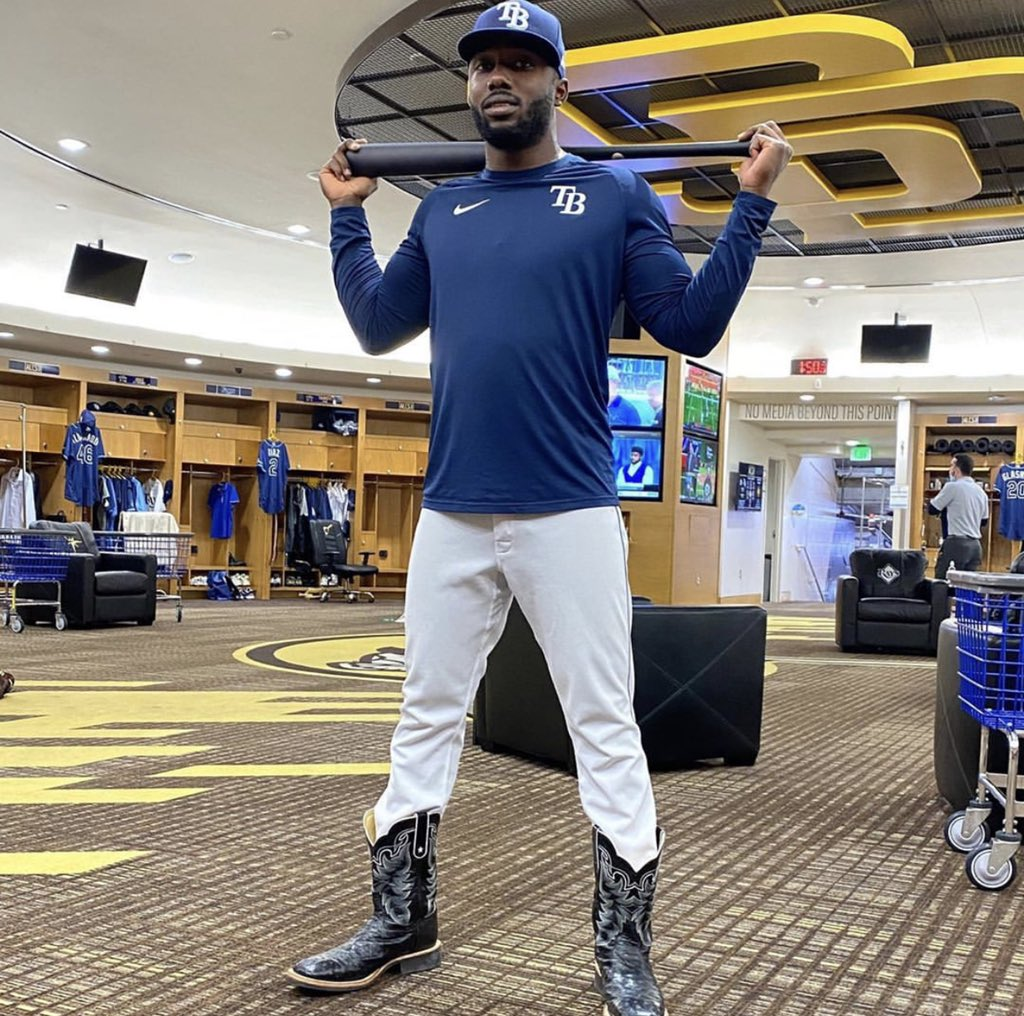 tampa bae sports network on twitter randy arozarena s cowboy boots are magical raysup mlb postseason randy arozarena s cowboy boots