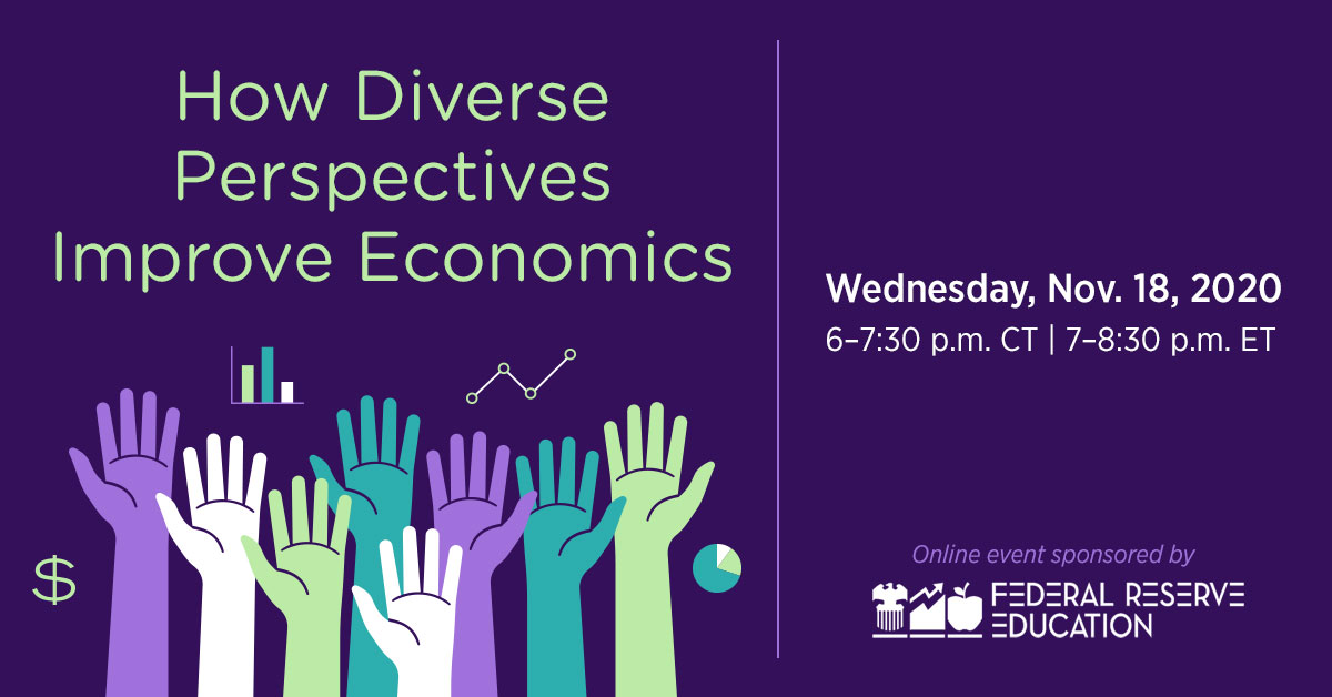 "Save the date: 11/18 at 7 p.m. Federal Reserve Education virtual event featuring @AtlantaFed President Bostic discussing ""How Diverse Perspectives Improve Economics.""  https://t.co/FSGWnUvO09 https://t.co/W4y8w7b26Q"