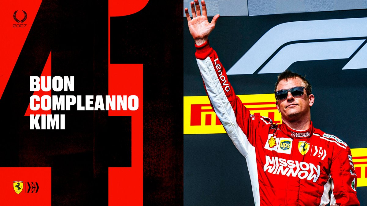 Tanti auguri Kimi 🥳  The Iceman and our 2007 World Champion turns 41 today ❤️  #essereFerrari 🔴 #F1 https://t.co/B2yt4ia87C