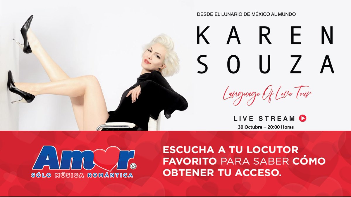 "🙌 ¡No te lo pierdas! El próximo sábado 31 de octubre @ksouzaofficial estará EN VIVO desde el Lunario del @AuditorioMx para presentar ""Language of Love"". ❤  *Participa con nuestros locutores en #GDL y #MTY para ganar tu acceso virtual @eticket. https://t.co/v35KJpZZz7"