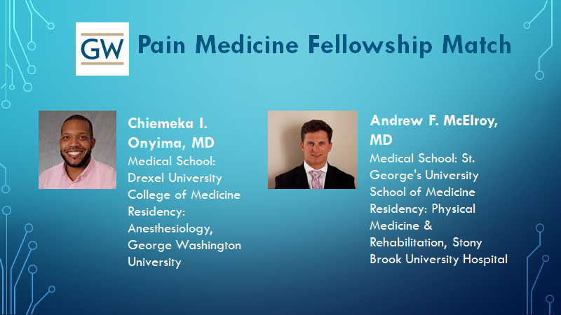 Congratulations to GW Pain Medicine for an incredibly successful inaugural match for this new ACGME-approved Fellowship in Pain Medicine.  Welcome to Chi and Andrew! @PainGuruDC https://t.co/kQXcET8dHh
