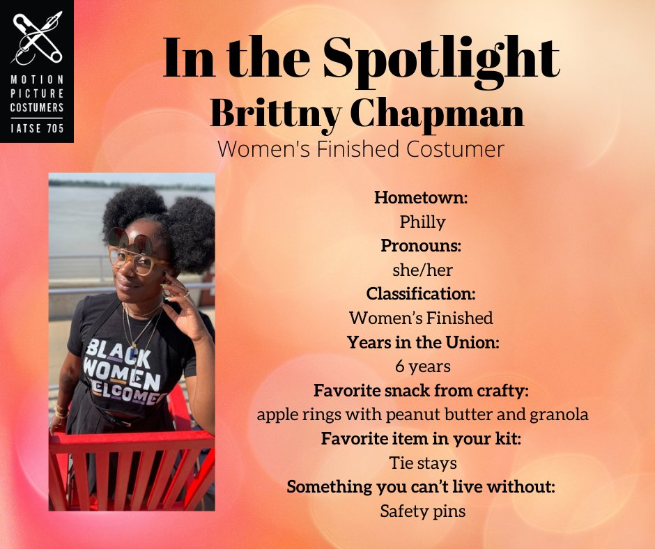 For this weeks MPC 705 Spotlight, we would like to introduce you to Brittny Chapman! She is a Key Costumer and Co-Chair of the Diversity Committee in our union. For the full Q&A see our Instagram and Facebook accounts!