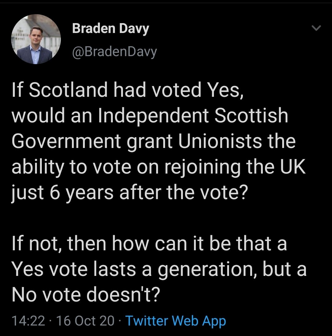 Unionists have such a warped perception of what the UK actually is. It isnt a confederation where countries can leave or join of their own free will. If Scotland voted for independence, the UK as we know it would cease to exist. There would be nothing to rejoin.