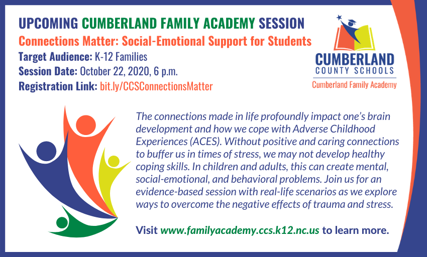 CCS Cumberland Family Academys next workshop, Connections Matter: Social-Emotional Support for Students, is next Thursday, October 22. This evidence-based session will use real-life scenarios. Registration Link: bit.ly/CCSConnections…