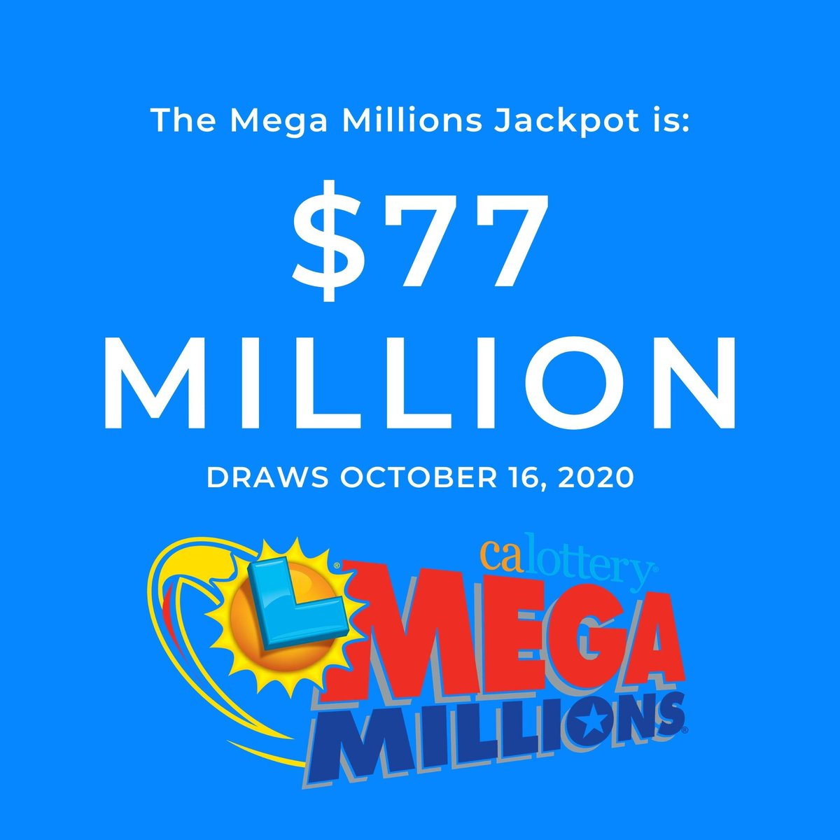 Tonight's Mega Millions jackpot is $77 million dollars! What would you do with it? #MegaMillions #JackpotAlert #calottery https://t.co/Nc8zXC8vW2