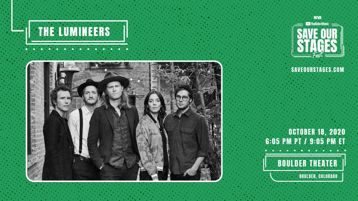 Closing out #SOSFest with a performance from @TheLumineers at Colorado's @BoulderTheater. Thank you for joining us and @nivassoc to help #SaveOurStages → https://t.co/icxoIKeDfq https://t.co/FRMSfHA9gG