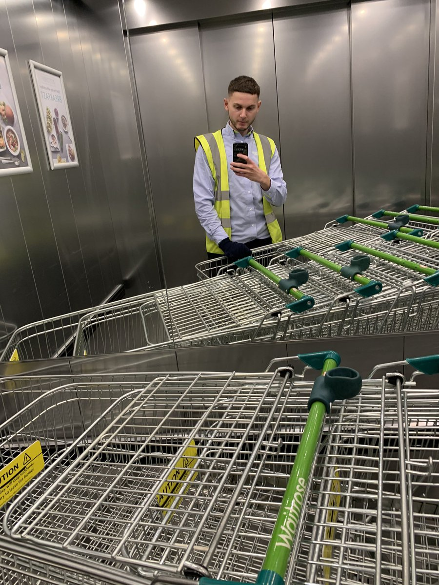 4 years ago I was doing trollies at Sainsburys on a Monday night. I left, worked hard and got a degree from the University of Sheffield. Now I'm doing trollies at Waitrose on a Friday night. Never give up 💫💯💎🛒