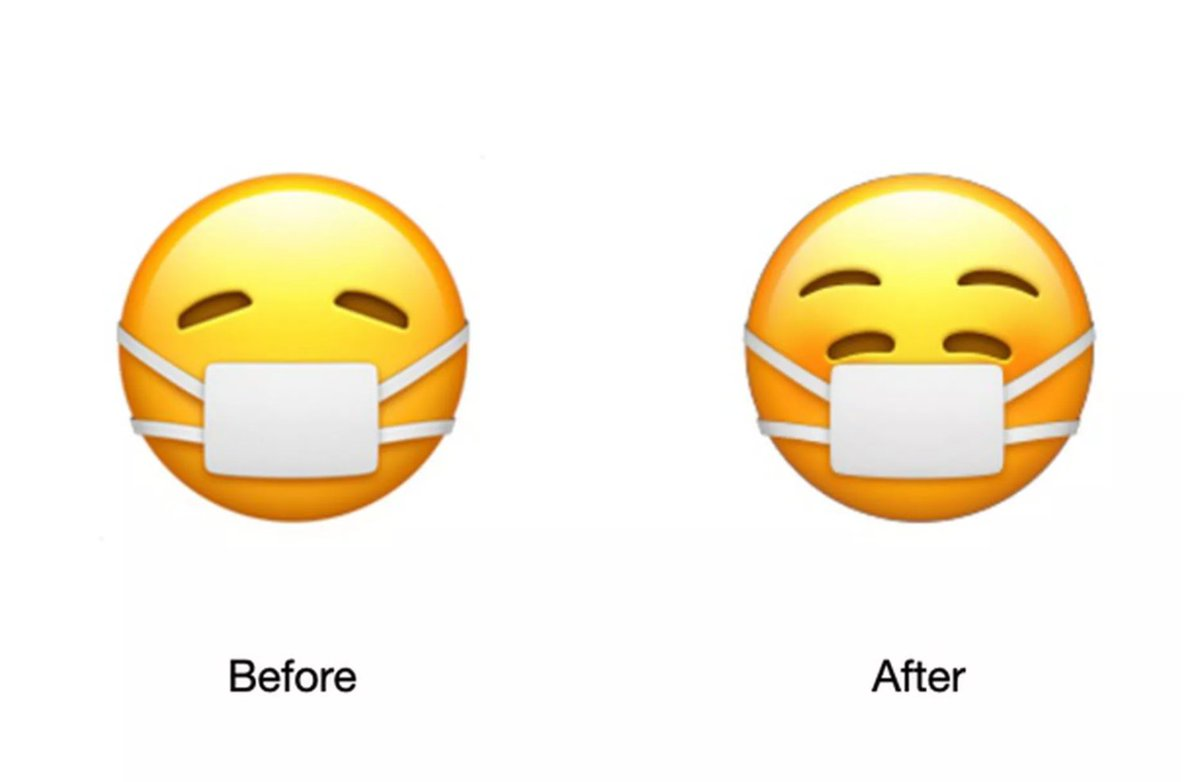 Apple is hiding a smile behind its new mask emoji.