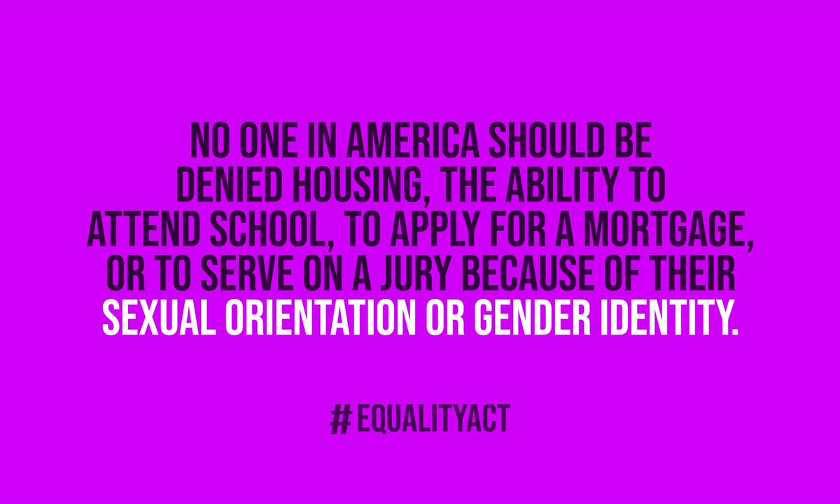 #Democrats will fight to enact the  #EqualityAct and at last outlaw discrimination against LGBTQ+ people in housing, public accommodations, access to credit, education, jury service, and federal programs. 3/10  #DemPartyPlatform
