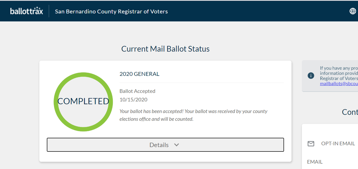 CA seems to not be having any issues with receiving ballots.  My county, a conservative county, has my ballot ready to be counted.  I sent it in on Tuesday.  #Vote #VoteCalifornia #VoterSuppression https://t.co/srzH33UdvP