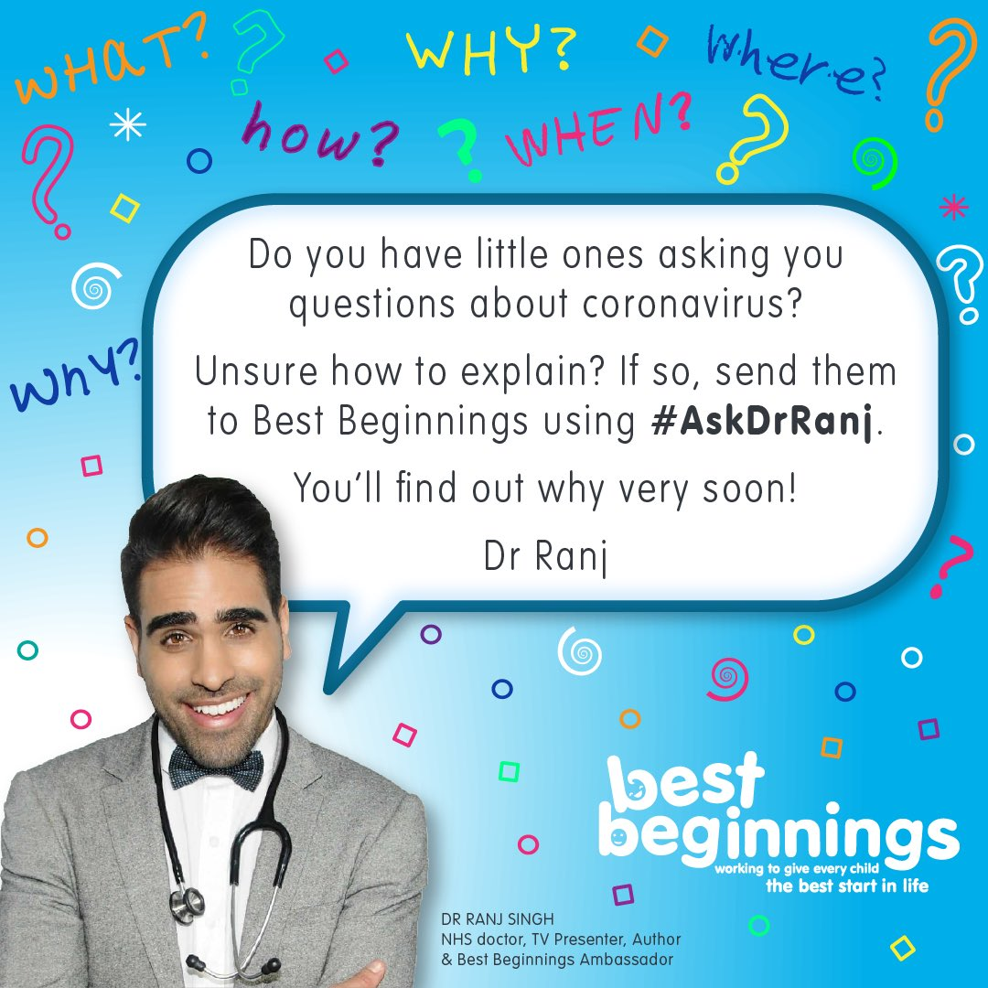 Please spread the word about this great opportunity to ask @DrRanj questions that 3-5 year olds have been asking you about #Covid19UK, using the hashtag #AskDrRanj Dr Ranj, of @CBeebiesHQ, @bbcstrictly & @thismorning fame, is planning a special event for your little ones.... twitter.com/bestbeginnings…