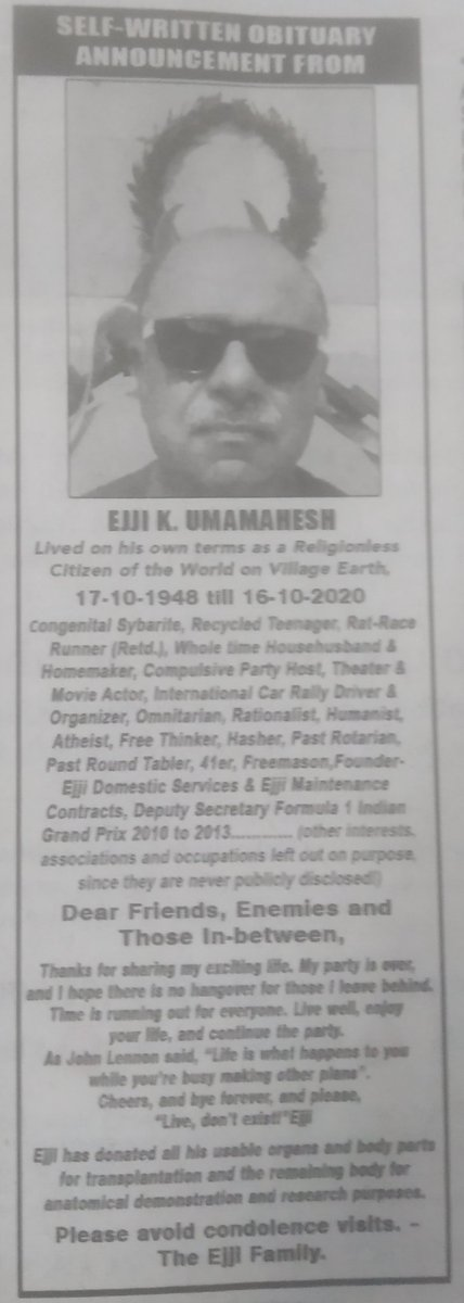 An interesting obit in @the_hindu today