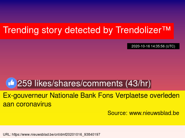 Ex-gouverneur Nationale Bank Fons Verplaetse overleden aan coronavirus https://t.co/G1abKnmarQ https://t.co/WCy9CpM1Ax