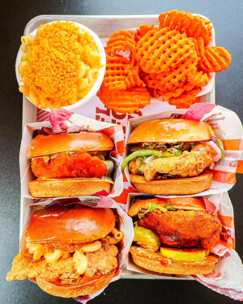 Chicken, chicken, chicken time (plus Lucille's Mac n' Cheese and Sweet Potato Waffle Fries) ! 🔥🐔🙌🏼 #BigChickenShaq