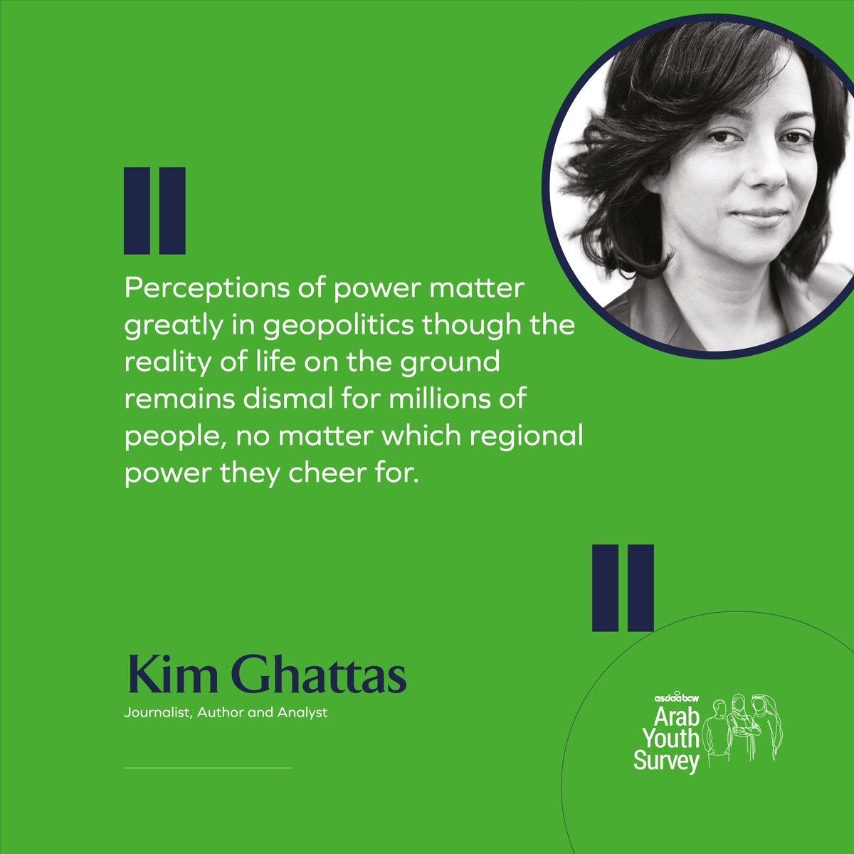 @kimghattas is a journalist, author and analyst. For the 12th Annual @asdaabcw #ArabYouthSurvey, she writes about the perceptions of foreign powers in the region and the impact of COVID-19. Read her thoughts here bit.ly/3k6U4D3