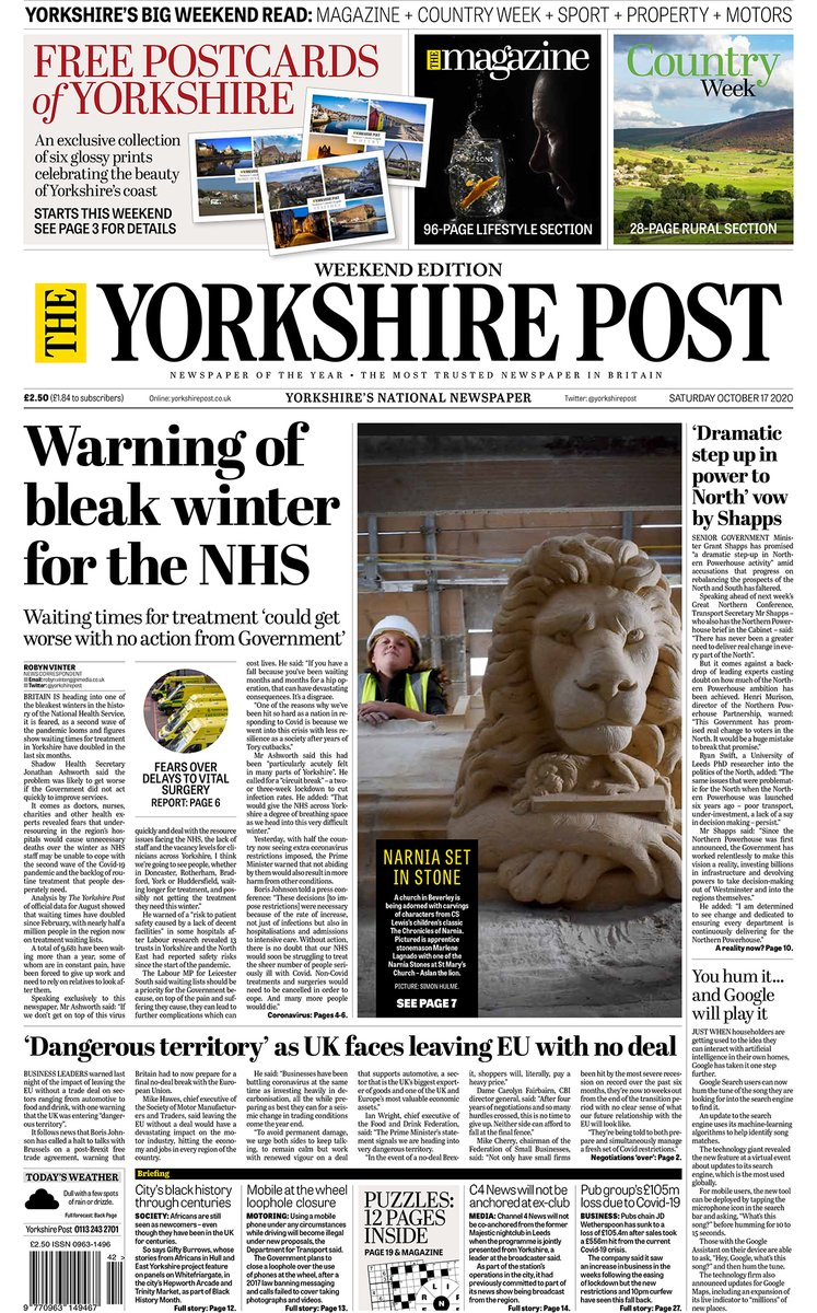 Good morning folks, heres your excellent weekend edition of The Yorkshire Post, complete with... 📰 The Magazine 🚜 Country Week 🏉 Sports Weekend 🏘️ Property Post 🚗 Motoring PLUS 👉 A free Yorkshires coastal delights postcard, featuring stunning images from @YPinPictures