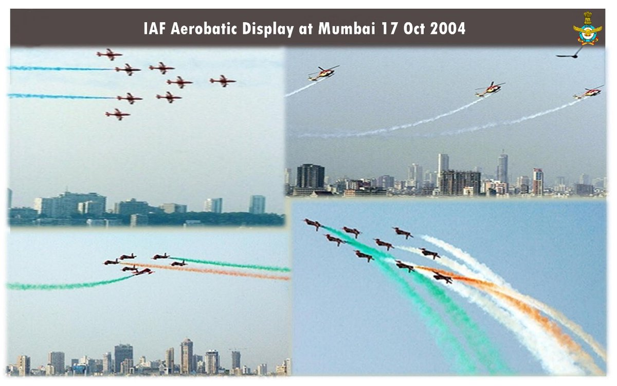#YearsBack on this day: On 17 Oct 2004, Mumbai witnessed a spectacular air display by 47 #IAF aircraft. Along with the fly-past & mock drills, there was an enthralling aerobatics display by Suryakiran & Sarang Aerobatic Teams. #IndianAirForce #KnowTheIAF