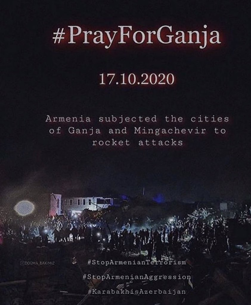 ❗️❗️Our heart is with Ganja!!🇦🇿 Armenia just bombed Ganja city again. It was 2 A.M! People were just sleeping and hoping for a better tomorrow!! With their kids and their family. THIS IS TERRORISM!!!  #stoparmenianterrorism  #PrayForGanjaCity  #prayforganja #Stoparmenianagression https://t.co/roFzsxp03k