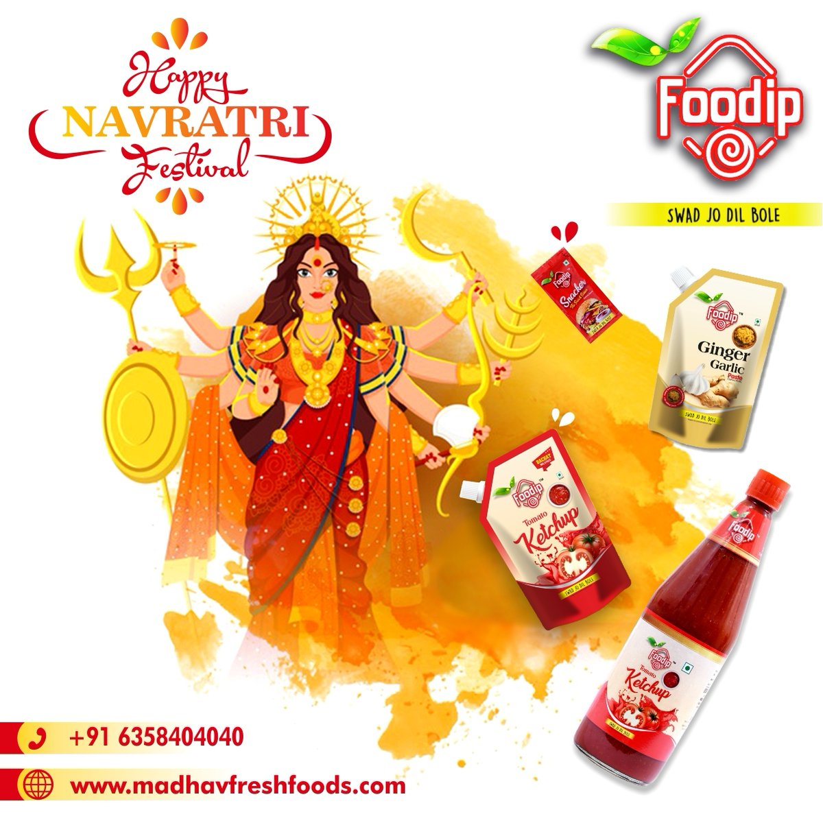 Happy Navratri to everyone. 🙏 We wish Mata Rani will bless everyone with good health.  . Contact us to know more: +91-63584-04040 Mail us : info@madhavfreshfoods.com . #worldpostday #2k20 #food #mayonnaise #sauce #pickles