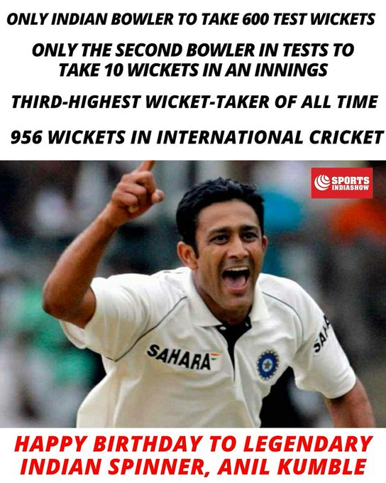 Happy 50th birthday anil Kumble sir