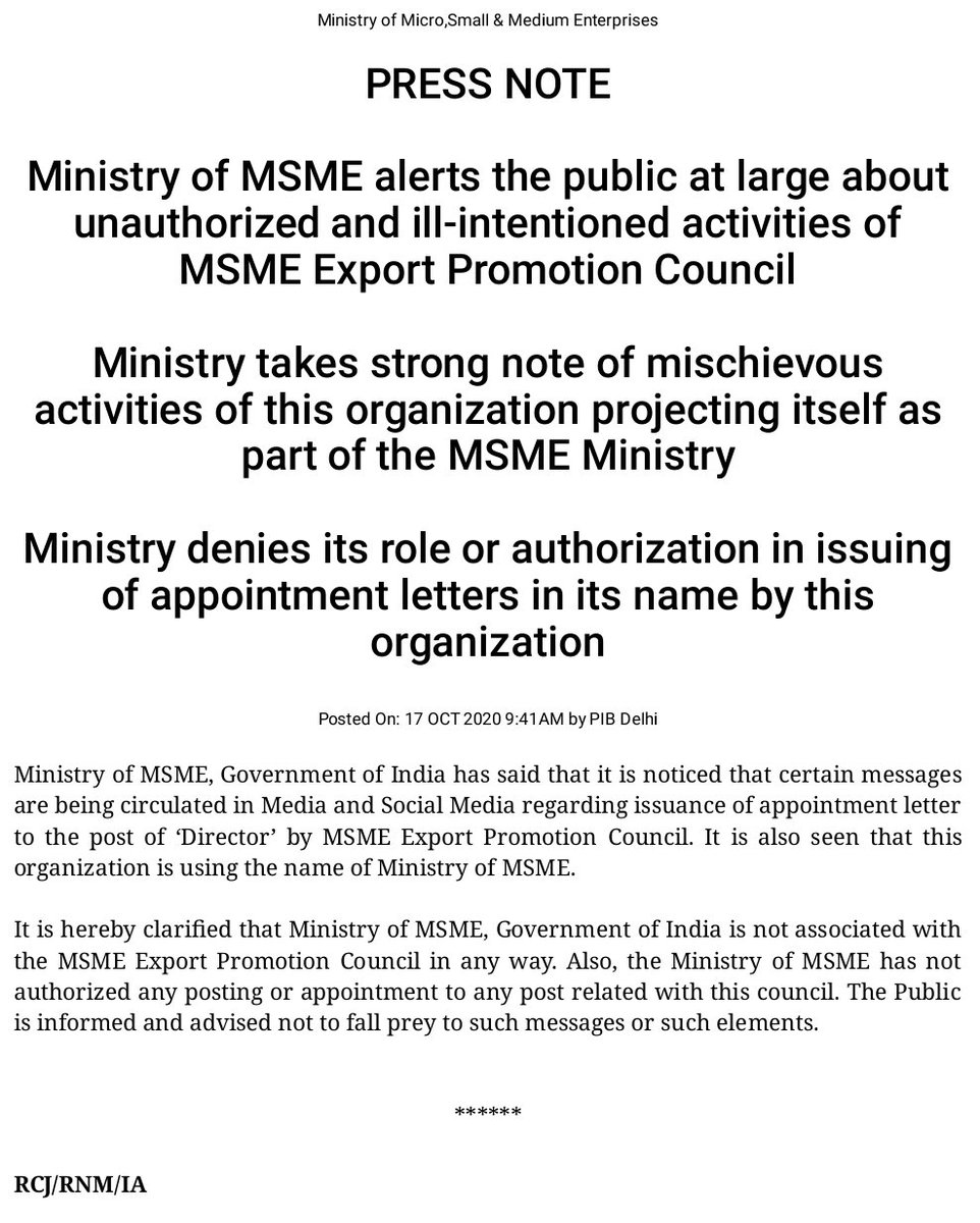 Ministry of MSME alerts the public at large about unauthorized and ill-intentioned activities of MSME Export Promotion Council. https://t.co/nb3fWwXAs8  @PIB_India https://t.co/PDLFFIiSxc