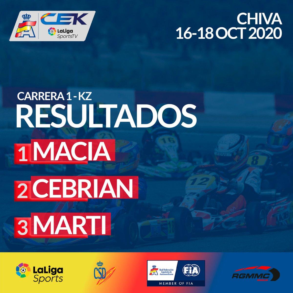 🏁 Victoria de @danimaciam en la carrera de este sábado en Chiva, categoría KZ.  Cebrián y @nereamarti27 han completado el podio.  #KartingCEK https://t.co/jHbH03LA7s