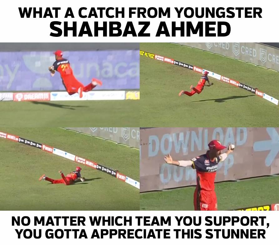 Shahbaz Ahmed with a stunning catch on the boundary line to dismiss Steve Smith. #Cricket #IPL2020 #ShahbazAhmed #RCB #RRvsRCB #CricTracker  📷: Disney + Hotstar VIP https://t.co/fQ7cMNpomj